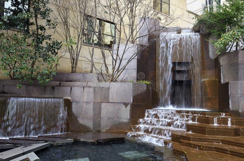 Thomas Polk Park Water Fountain arkivfoto