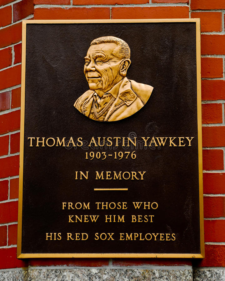 Thomas Yawkey Plaque, Fenway Park, Boston, mA. fotografia stock libera da diritti