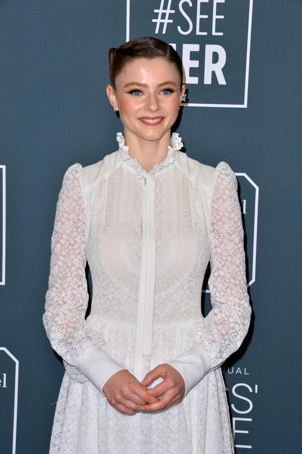 Thomasin McKenzie. SANTA MONICA, USA. January 12, 2020: Thomasin McKenzie at the 25th Annual Critics' Choice Awards at the Barker Hangar, Santa Monica..Picture stock photos