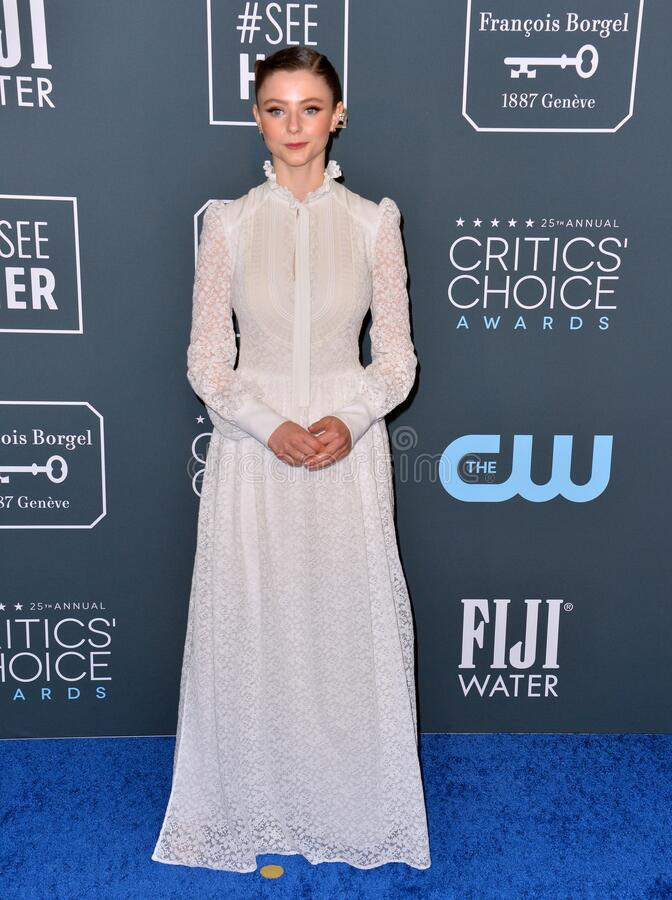 Thomasin McKenzie. SANTA MONICA, USA. January 12, 2020: Thomasin McKenzie at the 25th Annual Critics' Choice Awards at the Barker Hangar, Santa Monica..Picture stock photo
