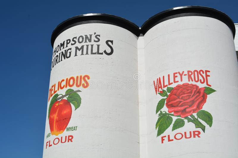 Thompson Mills Silos near Shedd, Oregon. Thompson's Mills State Heritage Site is a state park near Shedd in Linn County, Oregon, United States stock images