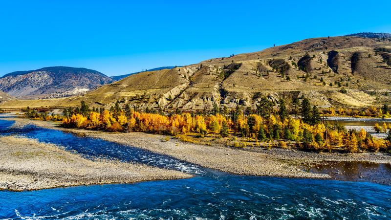 The Thompson River at Spences Bridge in BC Canada. Fall colors surrounding the Thompson River, North of the town of Spences Bridge on the Fraser Canyon route of royalty free stock photos