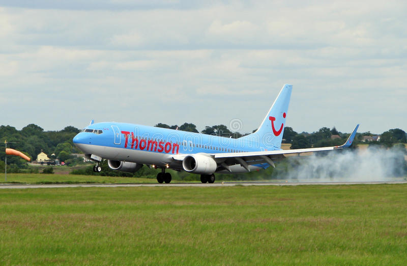 Thomson Airlines Plane. Boeing 767 Thomson Airlines landing at London Luton airport stock photo