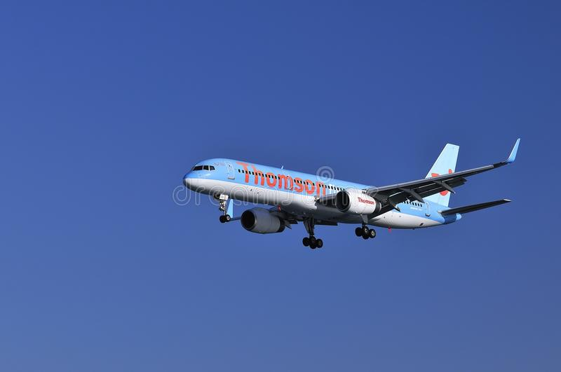Thomson airways. Lanzarote Airport, Spain, July 20, 2011, landing a Boeing 757 from Thomson airways stock photo