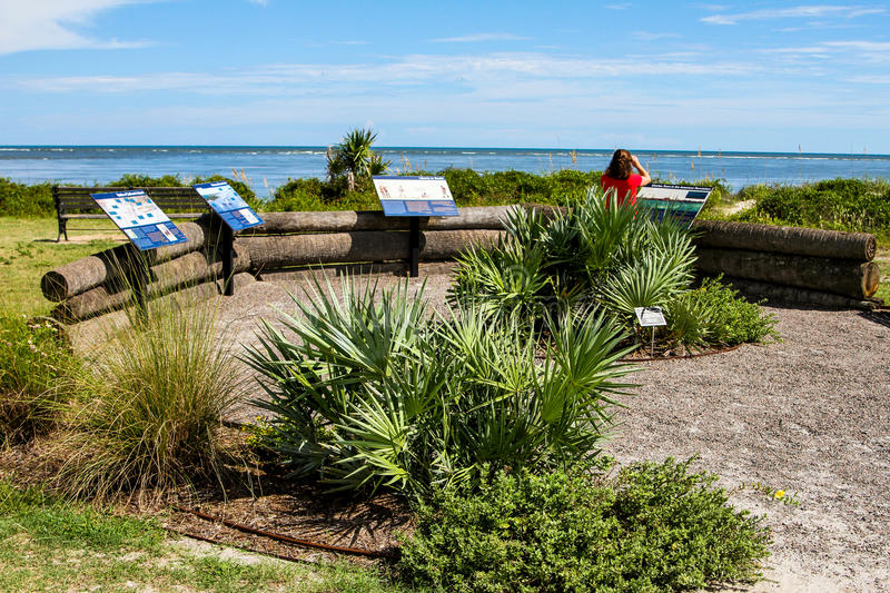 Thomson Park, Sullivan Island, South Carolina. Thomson Park historic battle site in the American Revolution back in 1776 stock photos