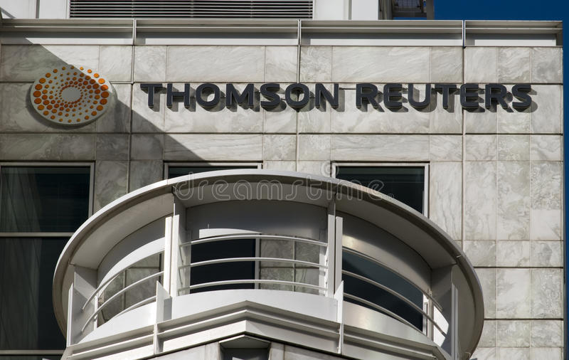 Thomson Reuters Headquarters. London Thomson Reuters News Agency headquarters in London,Canary Wharf Business and Banking District royalty free stock photo