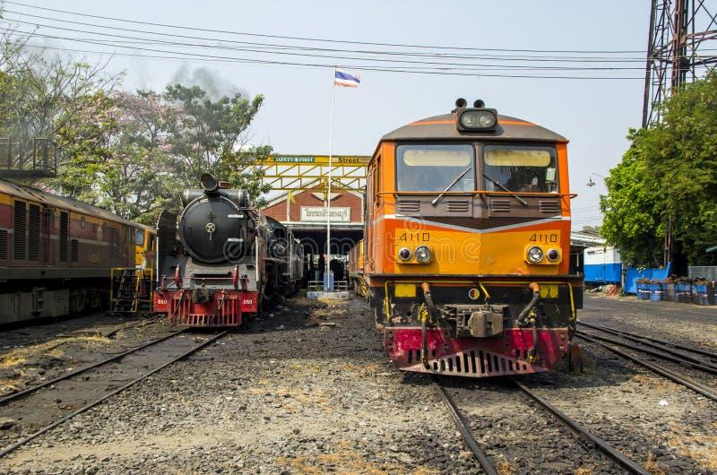 THON-BURI zajezdni miejsca lokomotoryczny magazyn i remontowa Parowa lokomotywa Tajlandia obrazy stock