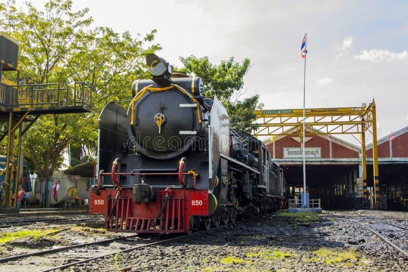 THON-BURI zajezdni miejsca lokomotoryczny magazyn i remontowa Parowa lokomotywa Tajlandia obrazy royalty free
