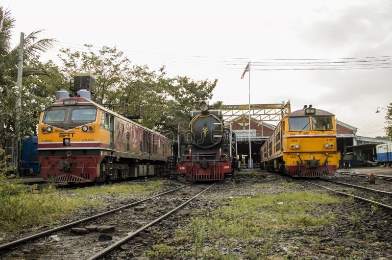 THON-BURI zajezdni miejsca lokomotoryczny magazyn i remontowa Parowa lokomotywa Tajlandia fotografia stock