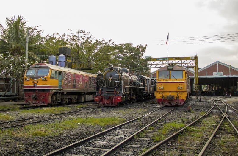 THON-BURI zajezdni miejsca lokomotoryczny magazyn i remontowa Parowa lokomotywa Tajlandia fotografia royalty free