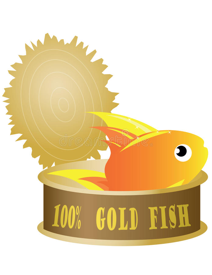 Thon en boîte avec des poissons illustration de vecteur