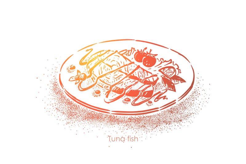 Thons cuits, nourriture frite délicieuse avec de la sauce et la garniture végétale, tomates et tranche de chaux, déjeuner savoure illustration stock