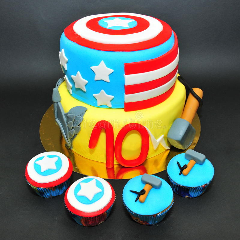 Thor And Captain America Cake And Cupcakes Editorial Photo Image