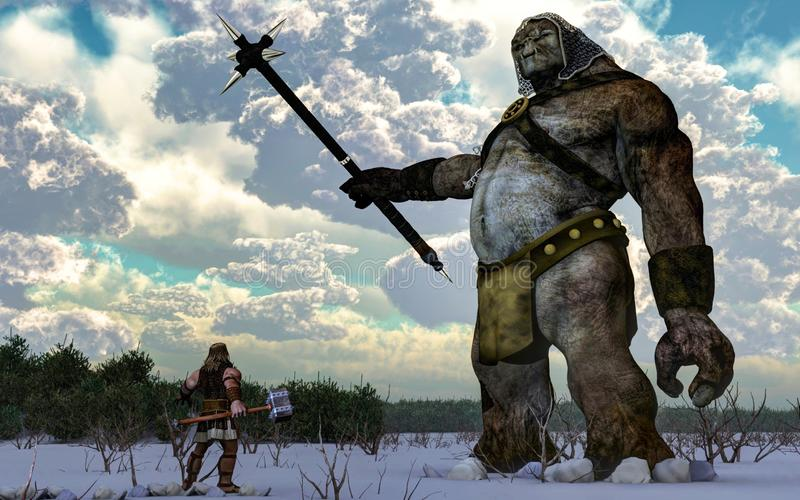 Thor Facing a Frost Giant. The Norse God Thor, hammer in hand, faces off against a massive frost giant on a snowy plain. 3D Rendering stock illustration