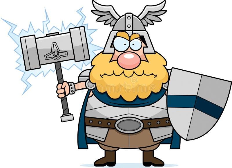 Thor irritado dos desenhos animados ilustração royalty free