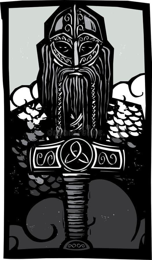 Thor och Mjolnir vektor illustrationer