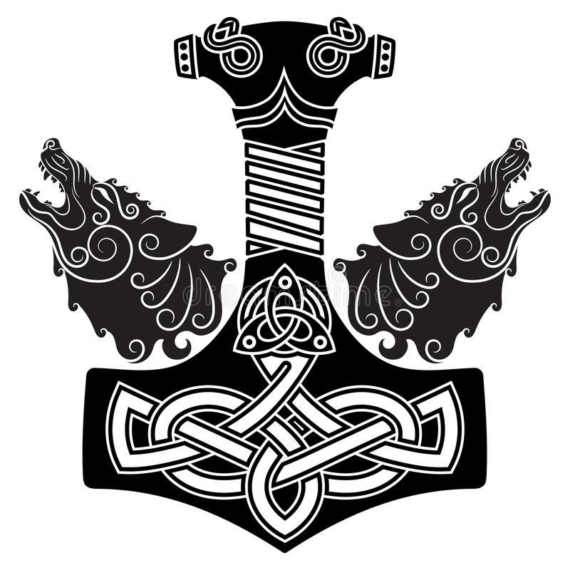 Thor S Hammer Mjollnir Scandinavian Ornament And Two Wolfs Stock