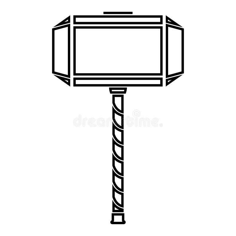 Thor S Hammer Mjolnir Icon Black Color Vector Illustration Flat