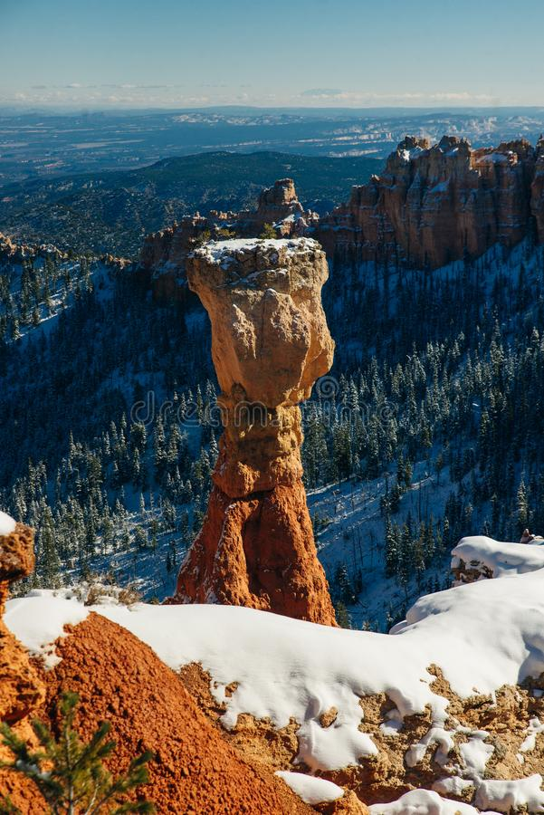 Thor`s Hammer and the spectacular Hoodoo rock spires of Bryce Canyon, Utah, USA royalty free stock images