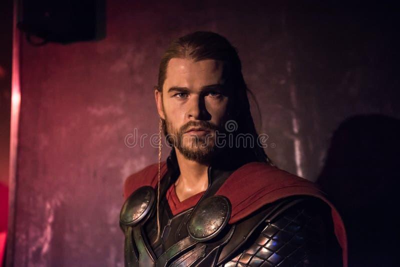 Thor, wasbeeldhouwwerk, Mevrouw Tussaud stock afbeelding