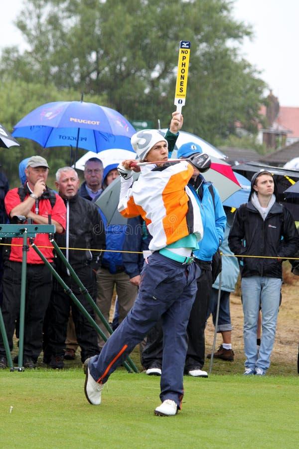 Thorbjorn Olesen British Open Golf Lytham St Annes. Thorbjorn Olesen (Denmark) driving during a practice round at the British Open Golf at the Royal Lytham and stock image