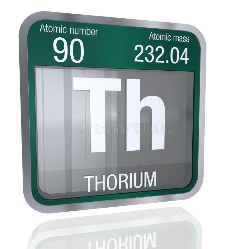 Thoriumsymbol i fyrkantig form med den metalliska gränsen och genomskinlig bakgrund med reflexion på golvet 3d framför stock illustrationer