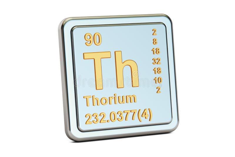 ThoriumTh, tecken för kemisk beståndsdel framförande 3d vektor illustrationer
