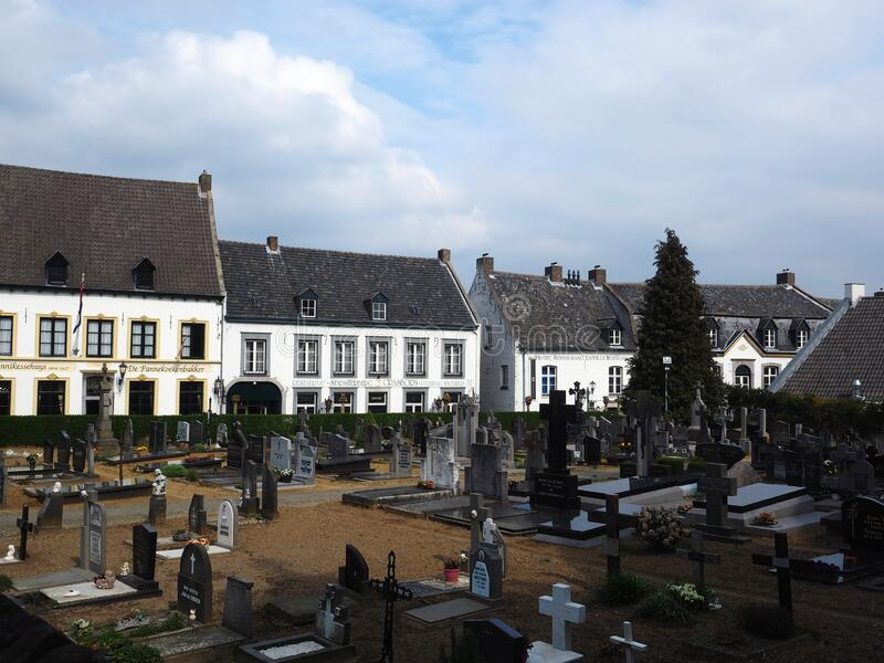 Cemetery in the middle of the Dutch village Thorn royalty free stock image