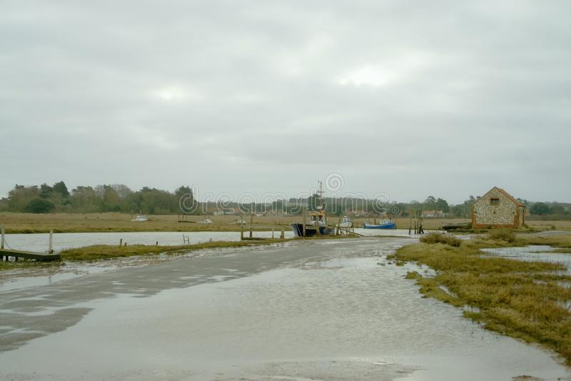 Thornham harbour just after high tide. stock photo