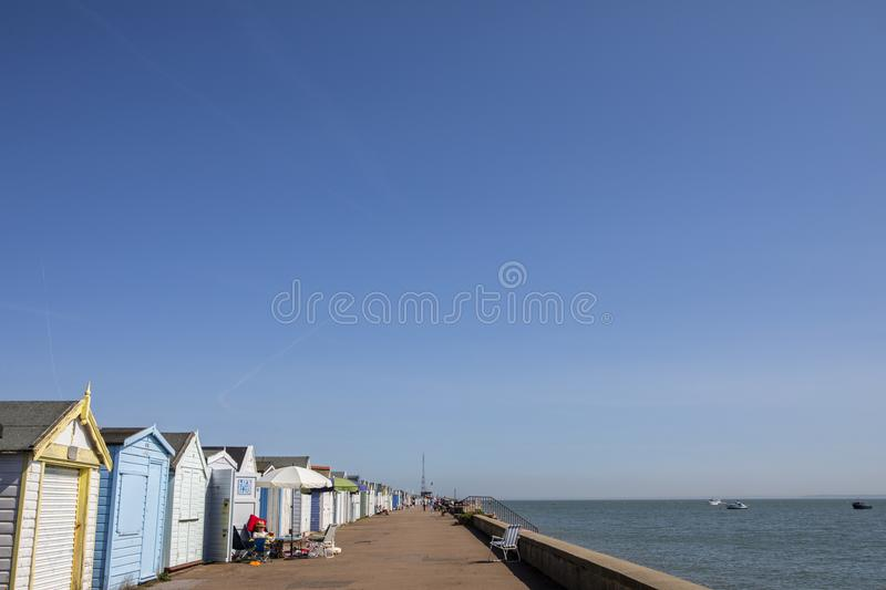 Beach Huts at Thorpe Bay in Essex stock images