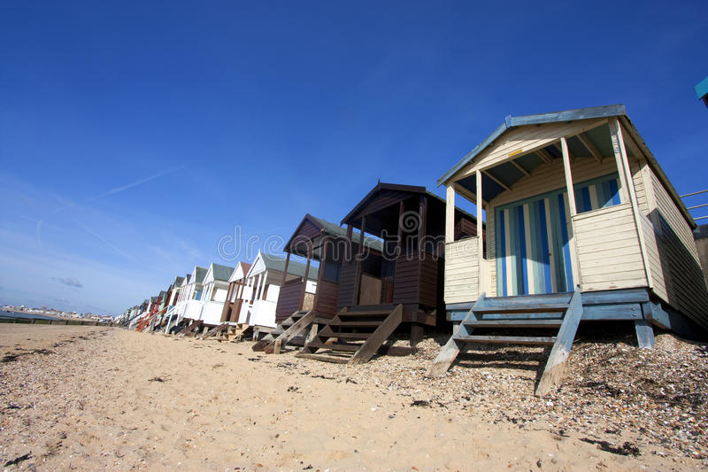 Thorpe Schacht-Strandhütten stockbilder