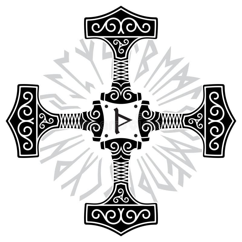 Thorshammare - Mjolnir och Norserunor stock illustrationer