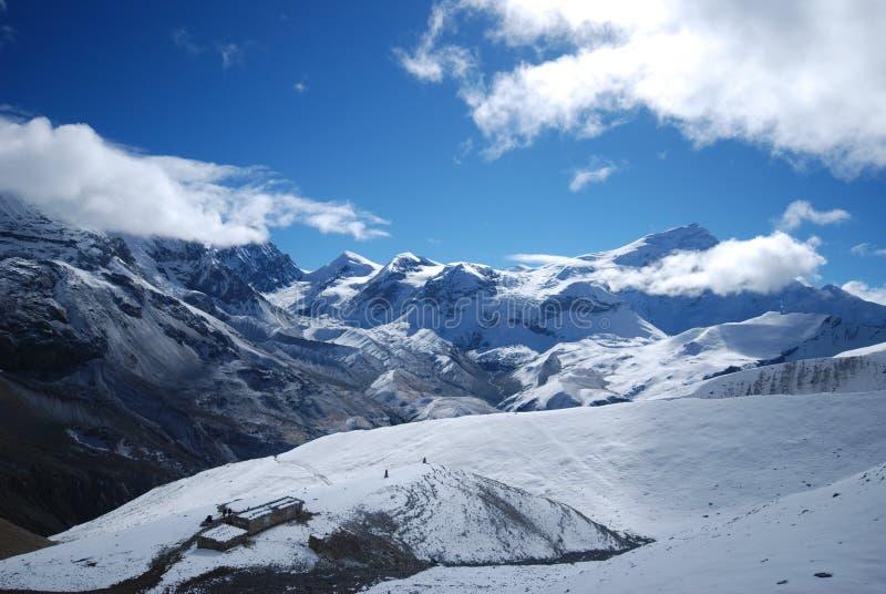 Thorung La, Annapurna, Nepal. Thorung La pass in the around Annapurna trek in Nepal stock photos