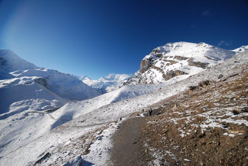 Thorung La, Annapurna, Nepal. Thorung La pass in the around Annapurna trek in Nepal royalty free stock images