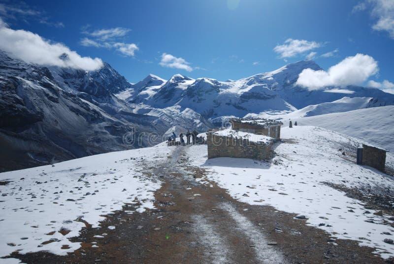 Thorung La, Annapurna, Nepal. Thorung La pass in the around Annapurna trek in Nepal stock images