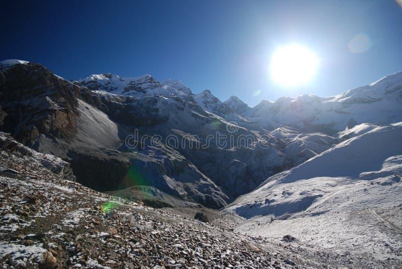 Thorung La, Annapurna, Nepal. Thorung La pass in the around Annapurna trek in Nepal royalty free stock photos