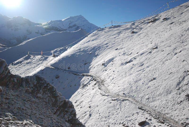 Thorung La, Annapurna, Nepal. Thorung La pass in the around Annapurna trek in Nepal stock image