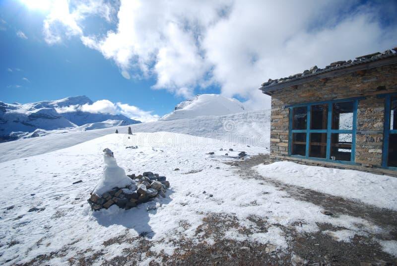 Thorung La, Annapurna, Nepal. Thorung La pass in the around Annapurna trek in Nepal royalty free stock photo