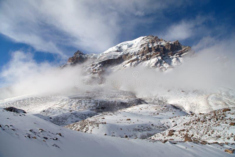 Thorung peak, Thorung La pass, Annapurna circuit. Thorung peak, view from Thorung La pass 5416 m. The highest point of Annapurna circuit trek, Nepal stock photos