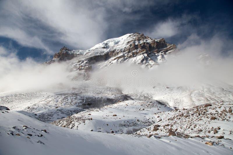 Thorung peak, view from Thorung La pass 5416 m. The highest point of Annapurna circuit trek, Nepal royalty free stock photo