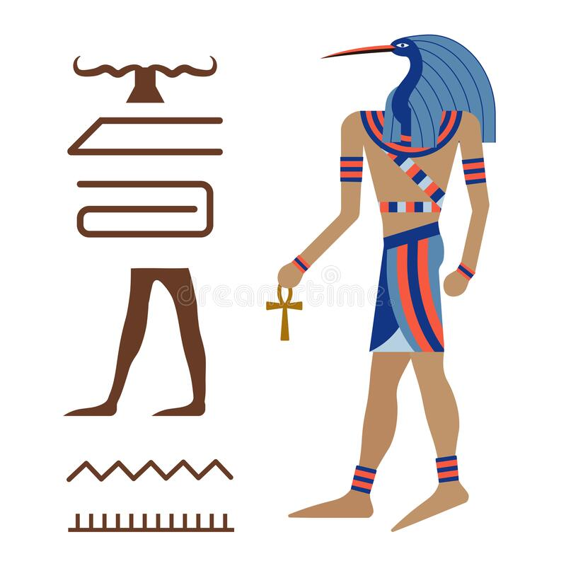 Thoth Ancient Egyptian Ibis God in Carton. Thoth ancient Egyptian god of knowledge, magic, medicine and moon. Divinity depicted in human body with head of Ibis vector illustration