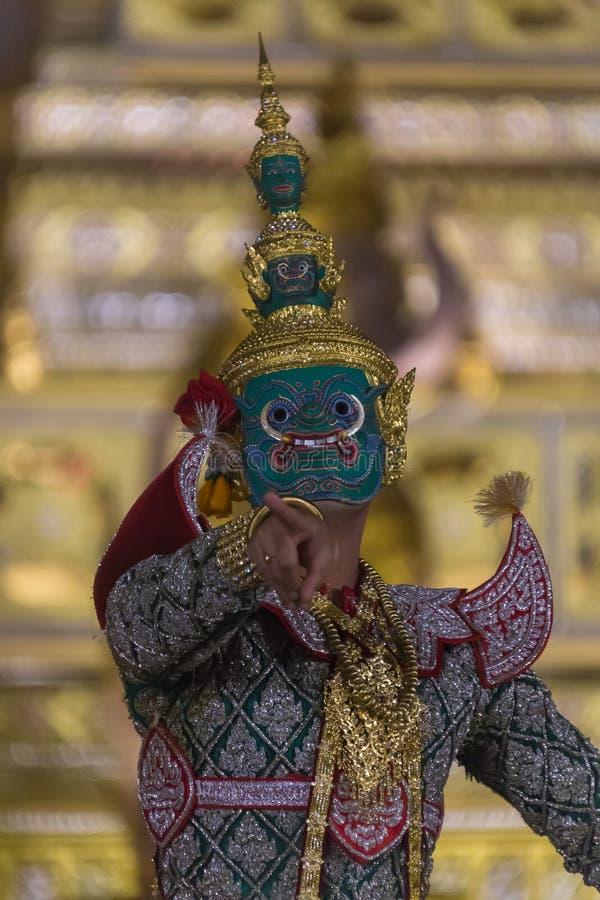 Thotsakan w Królewskim Khon, Ramakien zdjęcie stock