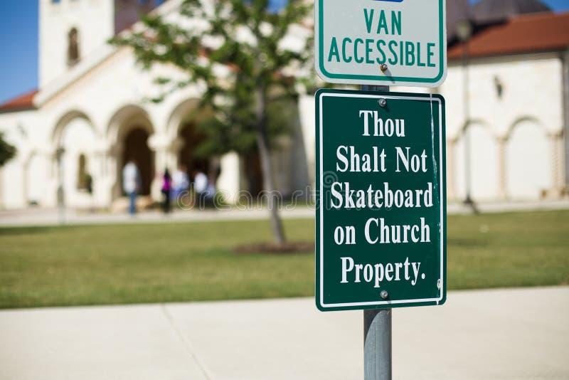 Thou shalt not skateboard at church royalty free stock photo