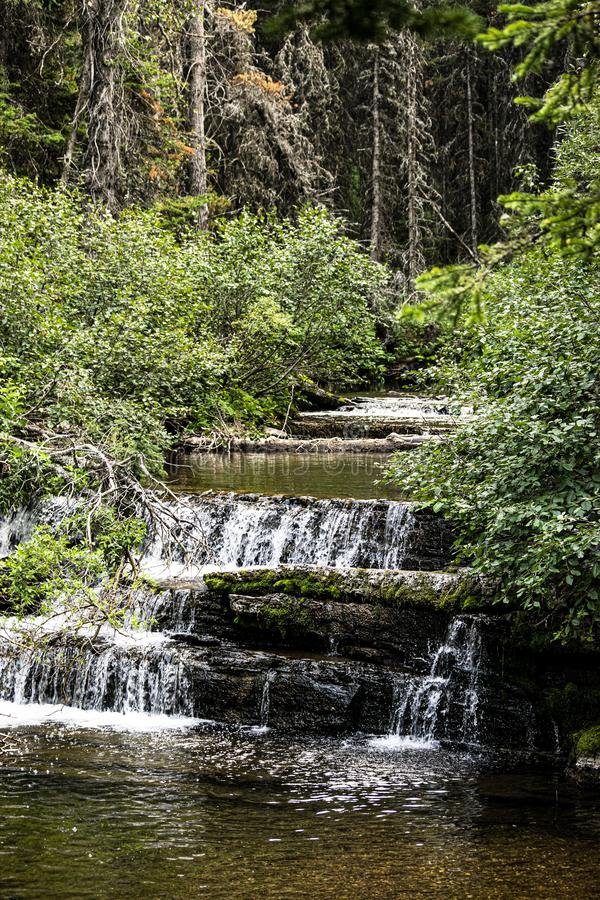 Secluded cascading waterfalls in southern Alberta royalty free stock photos