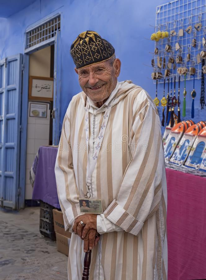 Insightful Berber Tourist Guide. Though in his late 70s, this witty and insightful multi-lingual walking tour guide proved amazingly agile and possessed uncanny royalty free stock photography