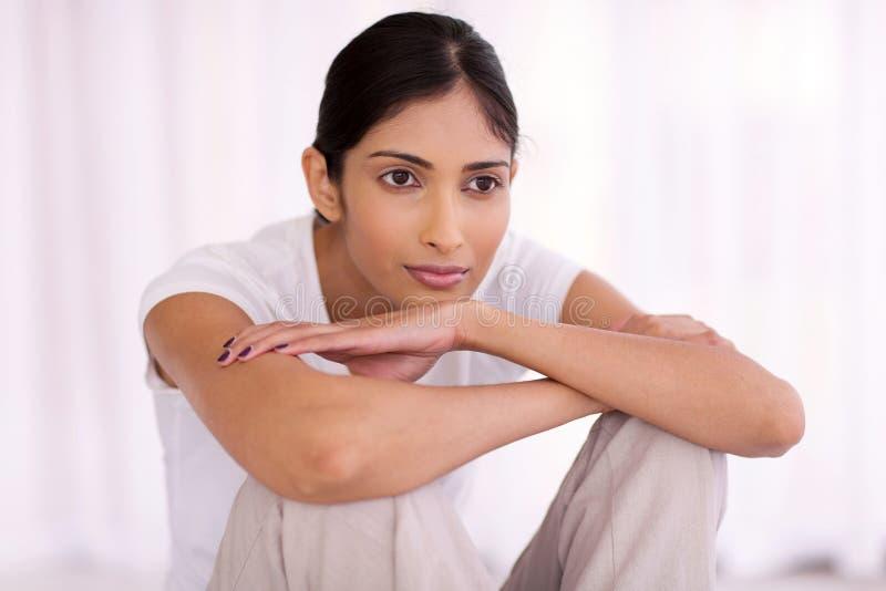Thoughful印地安人妇女 免版税图库摄影
