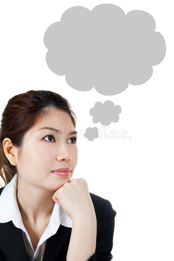 Thought Bubble. Asian female having a Thought Bubble, bubble shape generated by computer, can remove easily stock images