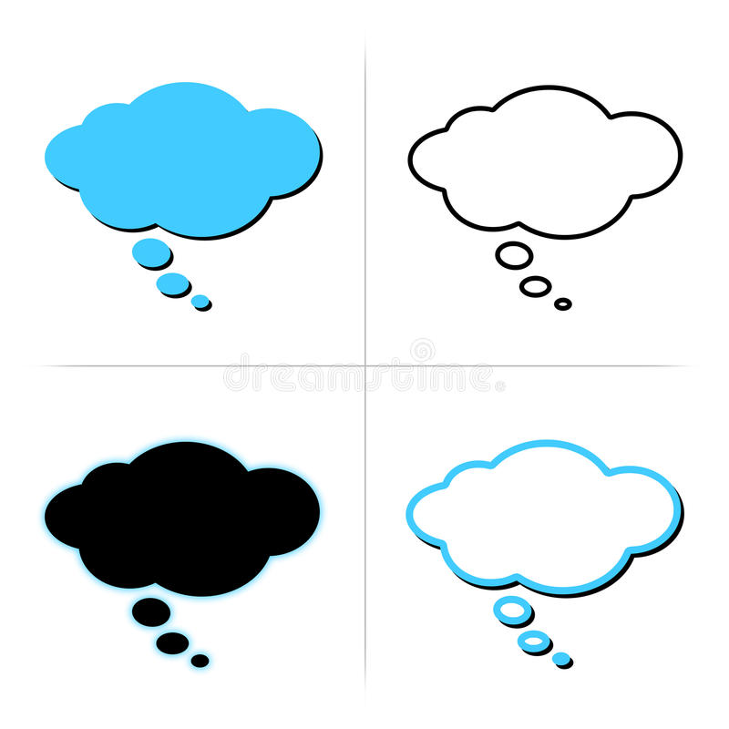 Thought bubble. Collection of 4 vector thinking bubble with blank space inside for your own words, isolated on white background
