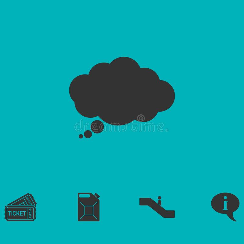 Thought bubble icon flat vector illustration
