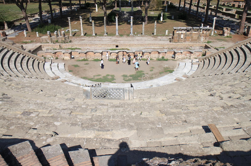 Ruins of Amfitheatre, Ostia Antica, Italy. It is thought Ostia Antica, at the mouth of the river Tiber, was founded in about 335 BC as one of the very first royalty free stock images